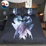 Yin And Yang Dragons Black By Jojoesart Printed Bedding Set Bedroom Decor