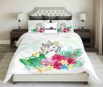 Funny Unicorn On Tropical Background Design  Bedding Set Bedroom Decor