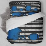 Football American Flag Blue  Bedding Set Bedroom Decor