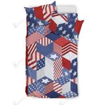 Usa American Flag 3D Cube  Bedding Set Bedroom Decor