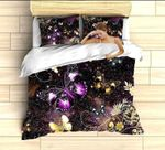 Purple Gold Butterfly Galaxy Printed Bedding Set Bedroom Decor