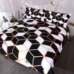 Geometric Black & White Marble Bedding Set Bedroom Decor
