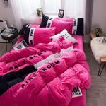Pink Embroidery Flannel Bedding Set Bedroom Decor