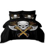 Silver Axes Criss Cross Skull Golden Eagle Bedding Set Bedroom Decor