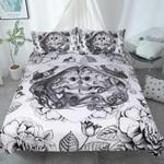 Floral Couple Skull 3D  Bedding Set Bedroom Decor