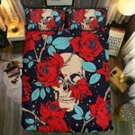 Red Flower With Skull Face Printed Bedding Set Bedroom Decor