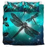 Dragonfly Green Twinkle Printed Bedding Set Bedroom Decor