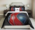 Red-Blue Basketball On Black Background Design  Bedding Set Bedroom Decor