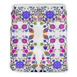 Floral Beadwork Seven Clans White Bedding Set Bedroom Decor