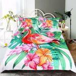 Tropical Flamingo Tropical Plant Bedding Set Bedroom Decor