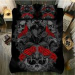 Owl Skull And Red Rose Printed Bedding Set Bedroom Decor