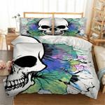 Skull White Watercolor Bedding Set Bedroom Decor