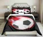 Football On Red Fire Design On Black Background  Bedding Set Bedroom Decor
