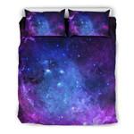 Purple Galaxy Space Blue Starfield Print  Bedding Set Bedroom Decor