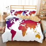Geometric World Map 3D Bedding Set Bedroom Decor