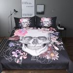 Pink And Black Sugar Skull Printed Bedding Set Bedroom Decor