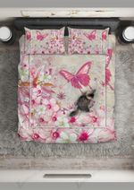 Pink Butterfly On The Lovely Flowers Bedding Set Bedroom Decor