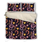 Pink And Orange Music Symbol Bedding Set Bedroom Decor