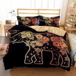 Golden Floral Boho Elephant 3D Printed Bedding Set Bedroom Decor