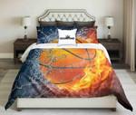 Orange Basketball On Fire Water Design   Bedding Set Bedroom Decor