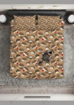 Hedgehog  Brown Little Things Bedding Set Bedroom Decor