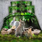 Rabits Animal Hd Print Green  Bedding Set Bedroom Decor
