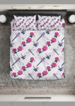 Rose And Wing Dragonfly And Rose Printed Bedding Set Bedroom Decor