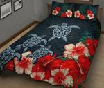Motif Swimming Turtle Bloomed Hibiscus Flower Bedding Set Bedroom Decor