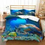Marine Habitats Sea Turtle Tropical Fish Teardrop Bedding Set Bedroom Decor