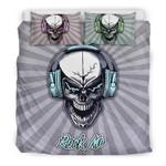 Rock Me Skull Headphones For Music Freaks Bedding Set Bedroom Decor