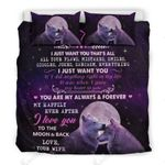 Love You To The Moon And Black Giving Husband Bedding Set Bedroom Decor