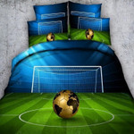 Hd Print Football Green   Bedding Set Bedroom Decor