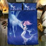 Unicorn And Lady In Space Printed Bedding Set Bedroom Decor