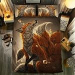 Fox Watching Moon Bedding Set Bedroom Decor
