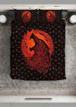 Norse Howling Wolf Black Printed Bedding Set Bedroom Decor