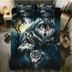 Four Wolves And The Moon Bedding Set Bedroom Decor