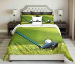 Golf Tools On Grass Background Design  Bedding Set Bedroom Decor
