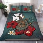 Hibiscus Flowers Motifs On The Turtle Printed Bedding Set Bedroom Decor