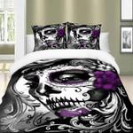 Purple Black And White Lady Sugar Skull  Bedding Set Bedroom Decor