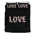 Floral Love Black  Bedding Set Bedroom Decor