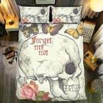 Skull Forget Me Not Butterfly Bedding Set Bedroom Decor