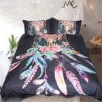 Feathers Dreamcatcher Native American Black  Bedding Set Bedroom Decor