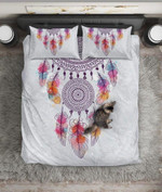 Dreamcatcher Watercolor Feathers Printed Bedding Set Bedroom Decor