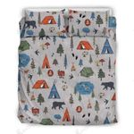 Various Tents And Bears On White Background  Bedding Set Bedroom Decor