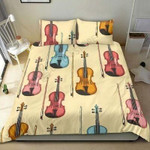 Multicolored Violins Pink Blue And Yellow Printed Bedding Set Bedroom Decor