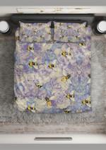 Purple Flowers And Bee Printed Bedding Set Bedroom Decor