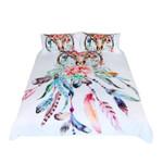 Floral Dreamcatcher King Hipster Feathers Skull Bohemian Bedding Set Bedroom Decor