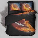 Football On Fire Bedding Set Bedroom Decor