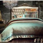 Green Jacquard Satin  Bedding Set Bedroom Decor