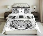 Wild Tiger Wearing Rugby Helmet Black White Design  Bedding Set Bedroom Decor
